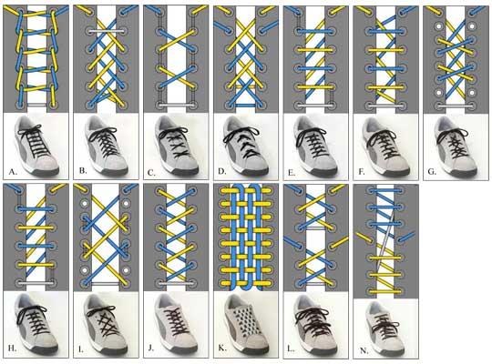 帆布鞋带多种花样系法:怎么系鞋带好看